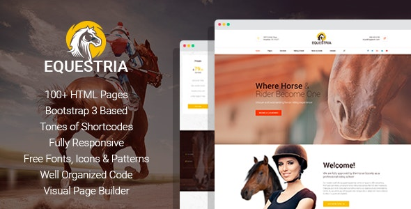 Equestria - Horse Club HTML Template with Page Builder - Corporate Site Templates