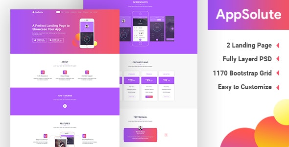 AppSolute - App Landing Page PSD - Business Corporate