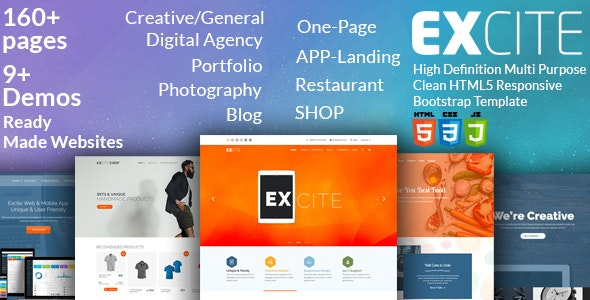 Excite - High Definition Multi-Purpose Clean HTML5 Responsive Bootstrap Template - Creative Site Templates