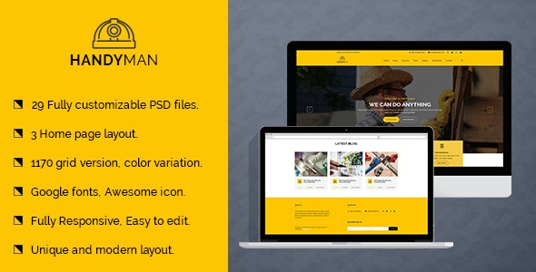 Handyman Services PSD Template - Business Corporate