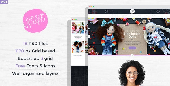 Craft - Handmade Crafts PSD Template - Personal Photoshop