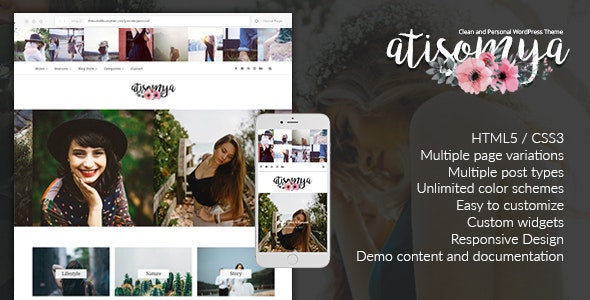 Atisomya - Clean & Personal WordPress Blog Theme - Personal Blog / Magazine
