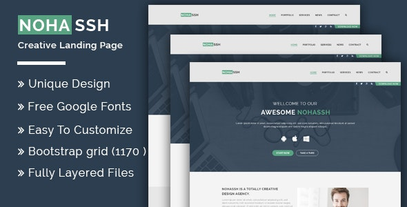 Nohassh Creative Landing Page PSD Template. - Creative Photoshop