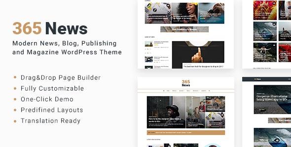 365 News - News Blog Publishing Magazine WordPress Theme - News / Editorial Blog / Magazine