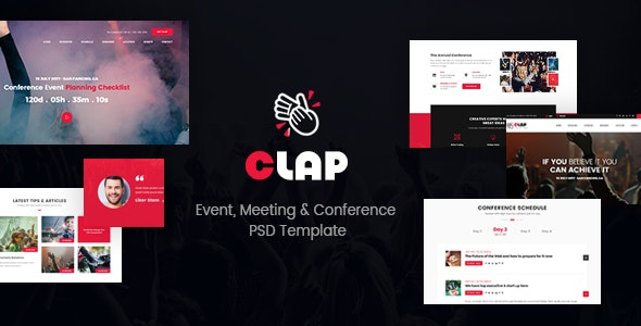 Clap - Event, Meeting & Conference PSD Template - Events Entertainment