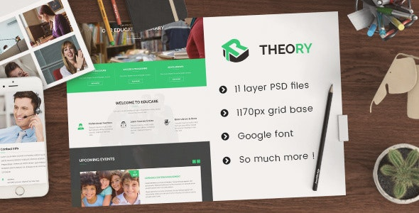 Theory - Education PSD Template - Corporate Photoshop