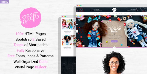 Craft Plus - Handmaded Crafts HTML Template with Visual Page Builder - Personal Site Templates
