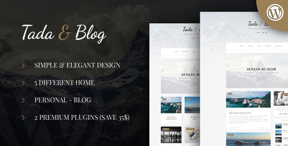 Tada & Blog - Personal WordPress Template - Personal Blog / Magazine