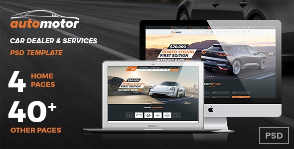 AutoMotor | Car Dealer & Services PSD Template - Retail Photoshop