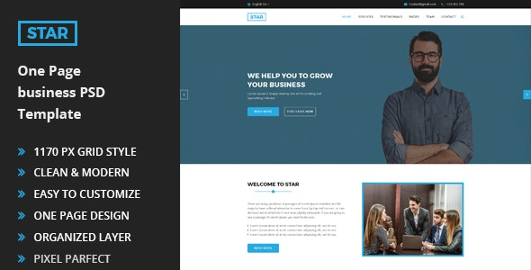 Star - One Page Business PSD Template - Photoshop UI Templates