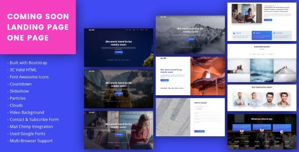 Coming Soon / Landing Page / One Page HTML Template - Under Construction Specialty Pages