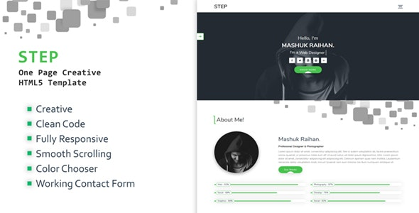 Step - One Page Creative Portfolio Template - Portfolio Creative