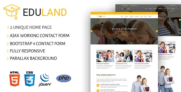 Eduland - Academy & Training Courses HTML5 Template - Corporate Site Templates