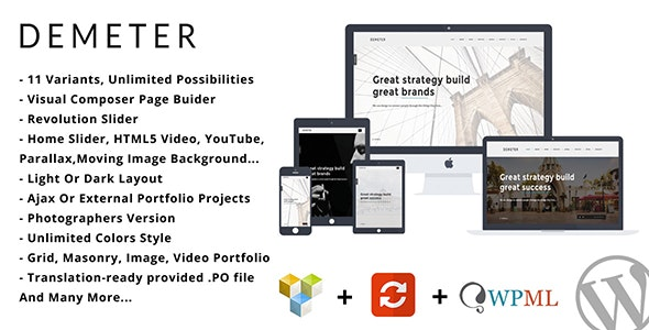 Demeter - One Page Parallax WordPress Theme - Portfolio Creative
