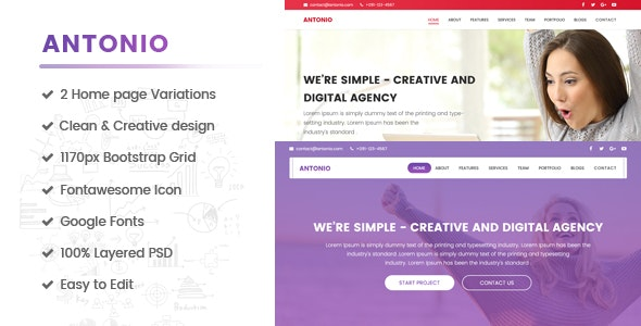 Antonio - Creative Digital Agency, Multipurpose, One page PSD Template - Corporate Photoshop