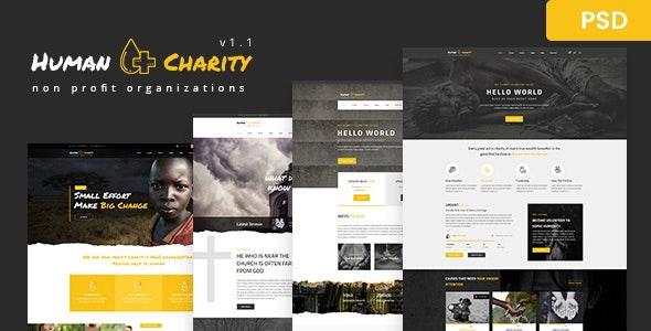 Human Charity - Multi-Purpose Crowdfunding, Church, Fundraising, Non-Profit PSD - Charity Nonprofit