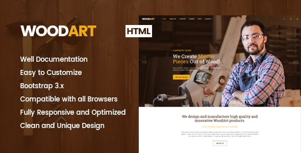 WoodArt - Carpenter HTML Template - Business Corporate