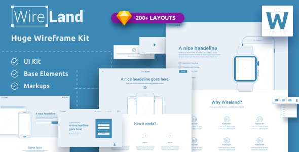 Wireland - Wireframe Library for Web Design Projects - Sketch Template - Sketch Templates