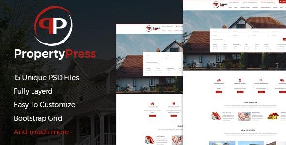 PropertyPress PSD Template - Photoshop UI Templates