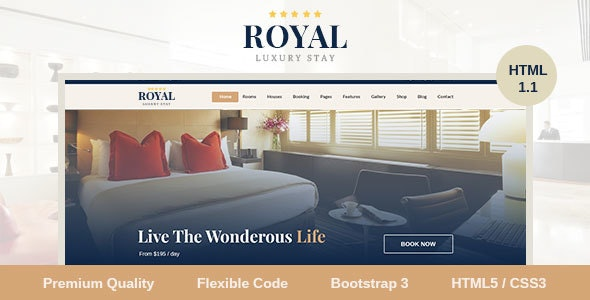 Royal Luxury Stay Online Hotel Booking Responsive HTML5 Template - Travel Retail