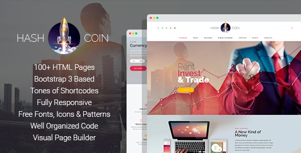 HashCoin Plus - Bitcoin Crypto Currency HTML template with Page Builder - Business Corporate