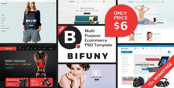 BIFUNY – Multi Purpose Ecommerce  PSD Template - Fashion Retail