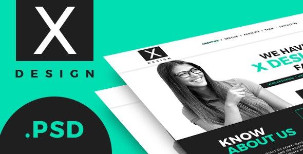X Design Single Page PSD Web Template - Corporate Photoshop