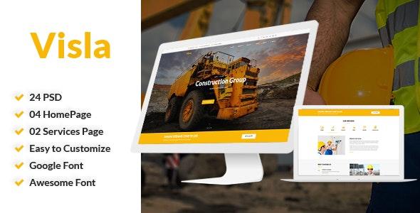 Visla | Multipurpose Construction PSD Template - Corporate Photoshop