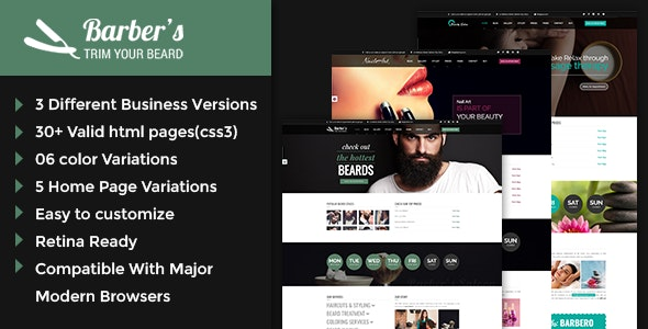 Barber - Html Template for Hair Salon - Health & Beauty Retail