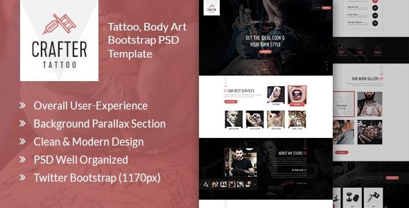 Crafter Tattoo - Body Art Bootstrap PSD Template - Art Creative
