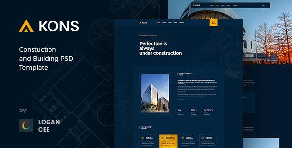 Kons ! Construction PSD Template - Photoshop UI Templates