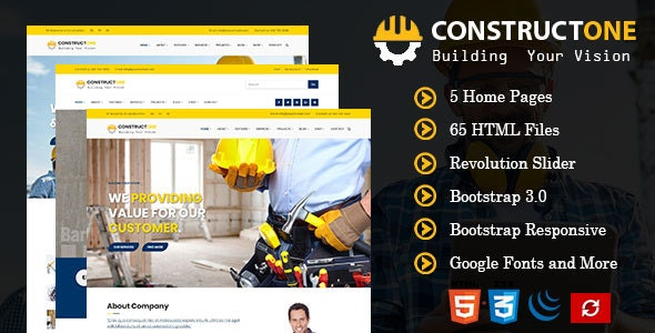 Constructone - Responsive HTML Template for Construction - Business Corporate