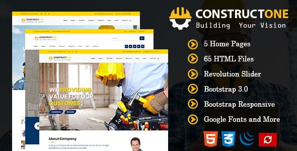 Constructone - Responsive HTML Template for Construction