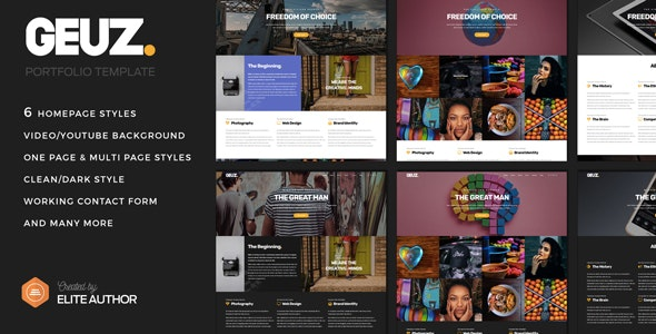 Geuz - Responsive One Page Portfolio HTML Template - Portfolio Creative