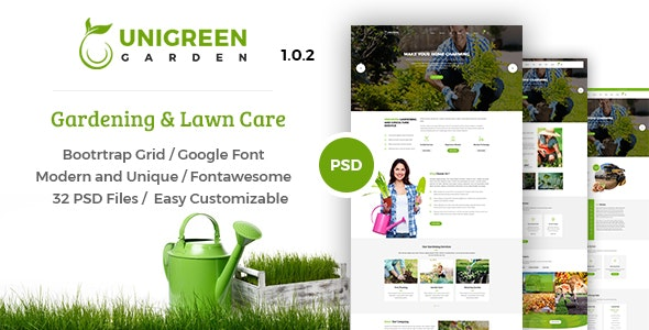 Unigreen - Gardening and Lawn Care Service PSD Template - Business Corporate