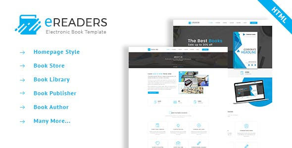 E Readers Books Library Ecommerce Retail Site Templates