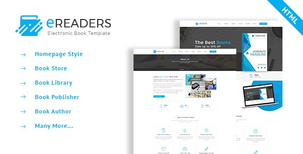 E Readers - Books Library eCommerce Store Html Template - Retail Site Templates