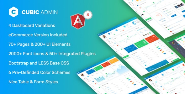 Cubic - Angular 4 Admin Template with Multiple Dashboard by