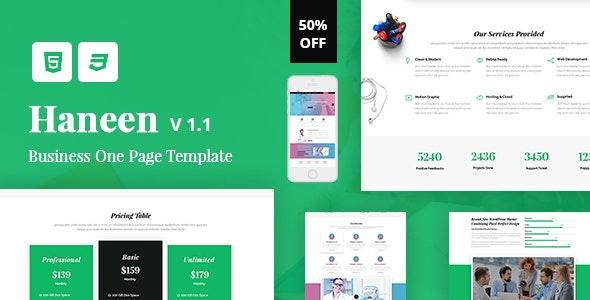 Haneen - One Page Parallax - Corporate Site Templates