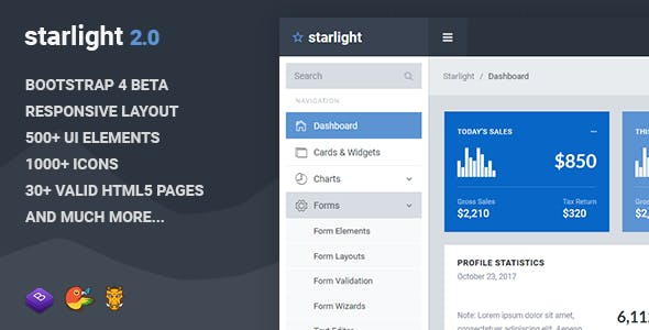 Starlight Responsive Bootstrap 4 Admin Dashboard Template