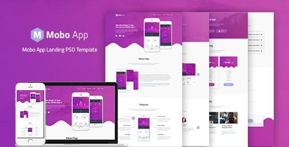 Mobo App - App Landing PSD Template - Software Technology