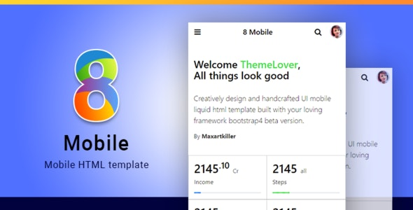 8 Mobile Multipurpose phone tablet Web/Application HTML Template - Mobile Site Templates