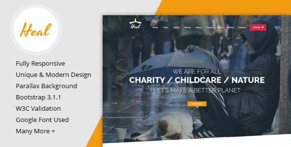 Heal - One Page Charity HTML Template - Charity Nonprofit