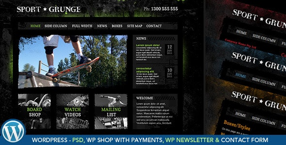 Sport Grunge WordPress Shop - Shopping Retail