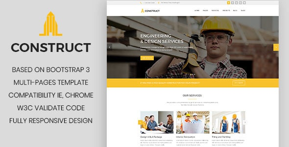 Construct - Construction Company, Building Company Template - Business Corporate