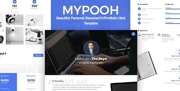 MYPOOH - Beautiful Personal Resume/CV/Portfolio Html Template - Personal Site Templates