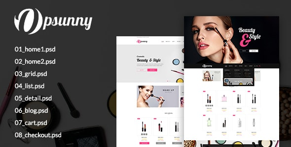 Opsunny – Cosmetic Shop PSD Template - Retail Photoshop