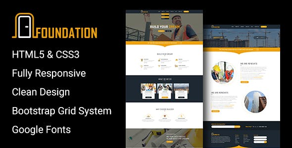 Foundation - Construction Responsive HTML Template