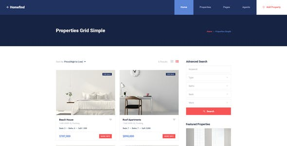 Homefind - Real Estate PSD Template