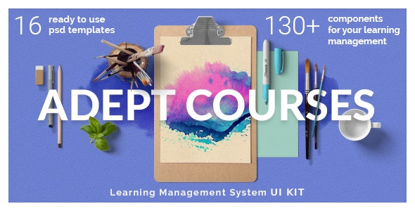 Adept Courses - Learning Management System PSD Kit - Photoshop UI Templates